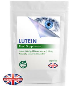 Lutein 20mg (30/60/90/120/180 Capsules) Eye Health Supplements, Zeaxanthin, UK