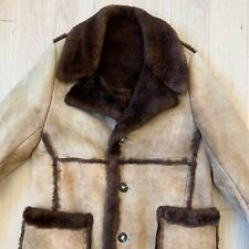 Vtg Shearling Sheepskin Wool Marlboro Man Jacket Coat Size 42 Excellent