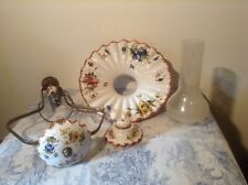 Rare Vintage French Ceramic Oil Lamp Style Ceiling Light