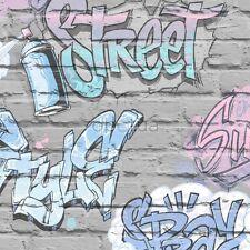 GRAFFITI  WALLPAPER PINK GREY LILAC BRICK WALL QUALITY WALLPAPER UGEPA L17906