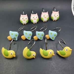 Pink Owls Yellow Birds Blue & Green Polka Dot Mushrooms Shower Curtain Hooks EUC