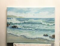 "Art 16""/12"" oil painting,beautiful day on the ocean, seascape,ocean,waves,surf"