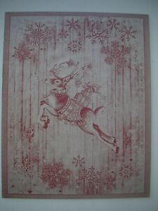 WILLIAMS SONOMA TWAS THE NIGHT REINDEER JACQUARD KITCHEN TOWELS SET OF 2 NWT