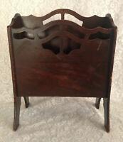 Vintage Butler #940 Wood Magazine Rack Holder Cut Outs Ornate Petite Brown