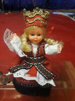 "Hard Plastic Doll Hardanger Norway 5"" Tall Circa 1960"