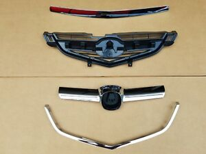 4PC Set 2004-2006 ACURA TL Front Bumper Grille Upper Center Lower Chrome Molding