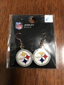 Pittsburgh Steelers Logo Dangle Earrings - NFL Licensed Jewelry One Size