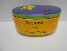 """Ceramic Box with Top Tumbleweed Pottery Fun Design & Colors Oval Shape 5 1/2"""" L"""