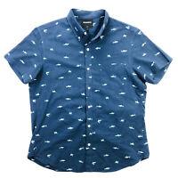 Bonobos Mens Large Slim Fit Shark Print Blue Short Sleeve Button Up Shirt