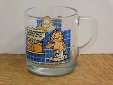 "Vintage 1978 McDonald's Garfield Glass Coffee Mug ""I'd Like Mornings Better."""