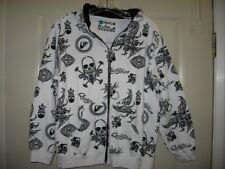 Quiksilver Boy L 16/18 Skulls White/Blk Fleece Full Zip Sweatshirt/Hoodie Jacket