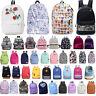 Womens Girls Canvas School Backpack Shoulder Bag Travel Hiking Rucksack Satchel