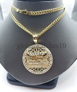 REAL 10k Gold Last supper Pendant Charm Jesus, Men 10k Cuban Link Chain Necklace