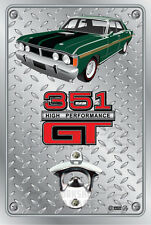 Pop A Top - Wall Mount Bottle Opener Metal Sign - ford xy gt car Monza Green 351