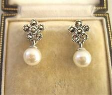 Deco Design Cream Faux Pearl, Marcasite Silver Earrings - Wedding?