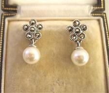 Deco Design Cream Faux Pearl, Marcasite Silver Earrings - Wedding?