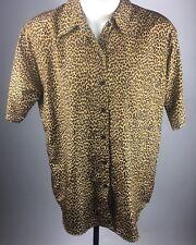 Classiques Animal Print Blouse Women's Leopard Print Button Down Plus Size 1X