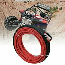 """1/4""""x50' 10000Lbs Synthetic Winch Rope Line Recovery Cable 4Wd Atv Red W/ Guard"""