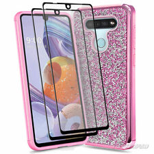 New listing For Lg Stylo 6 Case, Shockproof Glitter Phone Cover + Tempered Glass Protector