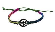 Bracelet bresilien ethnique multicolore Om hindu fil vert Ø 19mm - 25653