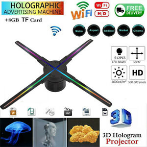 3D Hologram Projector Holographic 512 LED Fan Advertising Photos Video Lamp ASN