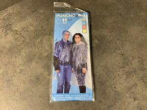 Erwachsenen Einweg-Regenponcho blau unigröße