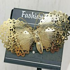 Filigree Layered Butterfly Brooch Pin Spring Gold Tone