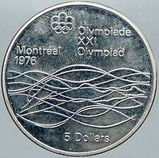 1975 CANADA Elizabeth II Olympics Montreal Swimming PROOF Silver $5 Coin i88474
