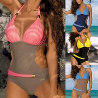 Damen Monokini Gepolsterter Push Up Bikini Brasilianisch Bademode Badeanzug DE
