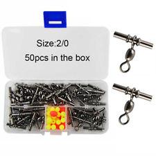 50pcs 2/0 2.5mm Cross-line Fishing Swivels 3 Way Crane Swivel Crimp Sleeves Set