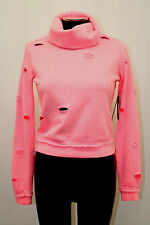 GUESS Top Long Sleeve Cowl Neck Croped Rip And Tear Amy Pink Size S MyAFC