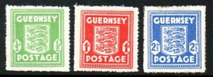 Guernsey Stamps 1941-44 SG 1-3 German Occupation Unmounted Mint