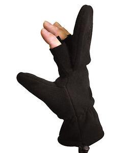 Fleece Sniper Fingerless Gloves Mittens - Olive Drab or Black Glove