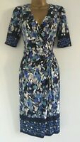 NEW M&S PER UNA 10-16 Navy Blue White Floral Print Wrap Bodycon Shift Dress