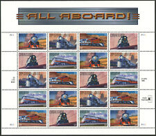 US 1999 33c All Aboard Trains Sheet of 20 Stamps Scott #3333-37 MNH