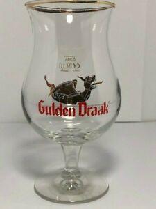 Gulden Draak Gold Rimmed Tulip Stemmed Belgian Beer Glass Goblet Dragon Viking