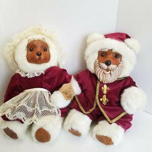 VTG Raikes Mr & Mrs Santa Claus Teddy Bears 1988 Numbered Wooden Face Christmas