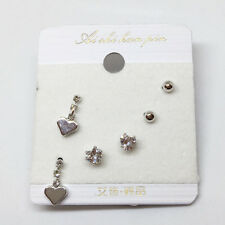 3Pairs Ear Stud Silver Alloy Heart Cubic Zirconia Shape Earrings Set