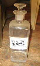 Vintage TR RHEI 1800's Apothecary Pharmacy Chemist Drugstore RX Bottle w Stopper
