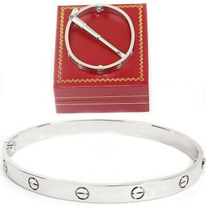 Bracelet bangle Screwdriver Men Women love bangle free gifts box silver black
