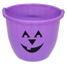 Pumpkin Face Trick Or Treat Jumbo Plastic Halloween  Bucket With Handle ~ Purple