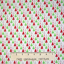 Flannel Fabric - Home for Holidays Multi Christmas Tree White Riley Blake YARD