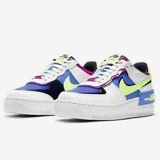 Nike Women's Air Force 1 Shadow White Blue Lime CJ1641-100 Women's Shoes No Lid