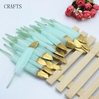 FEATHERS  Goose SOFT MINT with GOLD TIP X 5  4-6inch/10-15cm   UK Seller