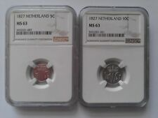 Netherlands 5 & 10 cent 1827 NGC MS 63