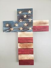 Wooden Cross Wall Decor With Flag Overlay 15x12 Inches