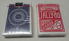 2 Mazzi carte da gioco Tally-ho Circle Back standard index dorso BLU-rosso no9
