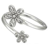 Daisies Ring 925 Solid Sterling Silver Dazzling Open Wrap Daisy S925 Size 7 / 54