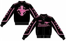 Ford Mustang Jacket Ladies Black Twill Pink Embroidered Logos Mustang Women's