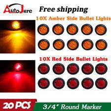 "20X 3/4"" 12V Marker Lights LED Truck Trailer Round Side Bullet Light Amber Red"